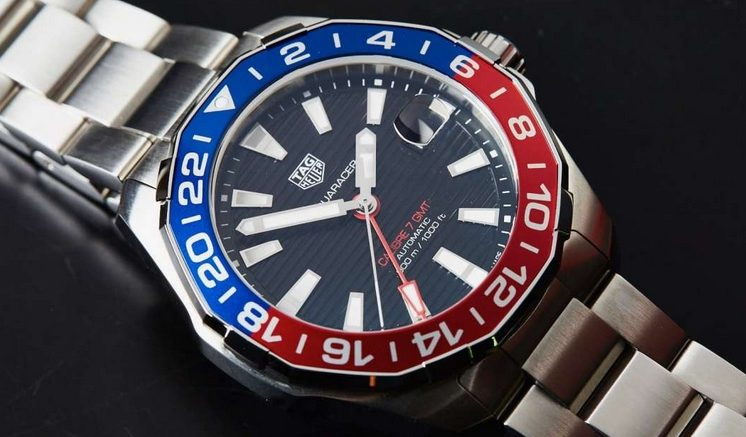 Replique Montre TAG Heuer Aquaracer GMT Lunette Rouge / Bleu